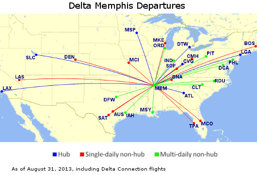 Delta Memphis Map 64 Departures per Day